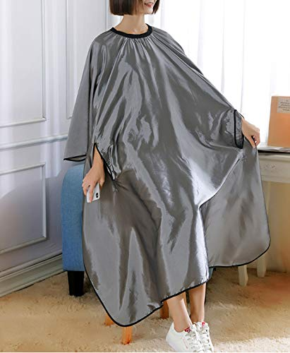 WTTX The black elegant and professional hairdressing cape for hair styling cuts and hair dyeing silver.