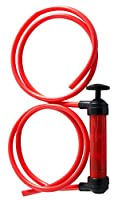Liquid Transfer/Siphon Hand Pump - Manual Plastic Sucker Pump With Two - 50 x ½ Inch Hoses - For Gas, Oil, Air, & Other Fluids - Use In Case Of Emergency - By Katzco...