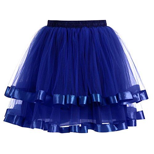 BiilyLi jupon jupe Danse tulle Robe Princesse Taille Elastique Femme Vintage Mi-longue Jupe En Tulle Multi Couch Petticoat Tutu Bleu