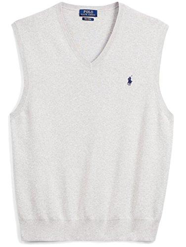 Polo Ralph Lauren Men's Pima Cotton Sweater Vest, M, Lite Grey HTH- by Polo Ralph Lauren