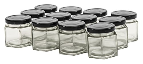 - North Mountain Supply 4 Ounce Glass Hexagon Canning Jars 58 Lug - with Black Lids - Case of 12