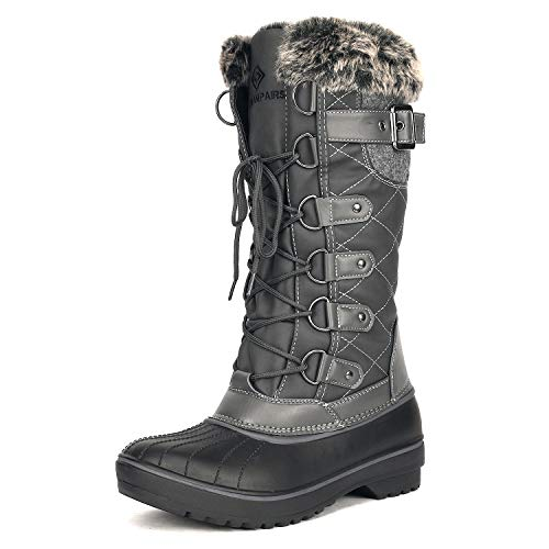 DREAM PAIRS Women's DP-Avalanche Grey Faux Fur Lined Mid Cal