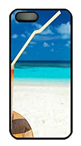 Summer Cocktail On The Beach Polycarbonate Custom iPhone 5S/5 Case Cover - Black