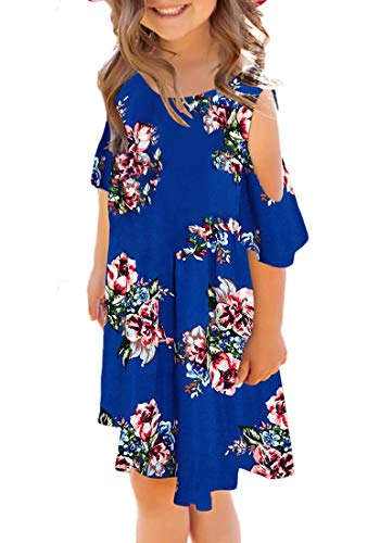 Utyful Girl's Ruffle Cut Out Short Sleeve Loose Casual Tunic Shirt Swing Dress Blue Floral Size XX-Large (12-13 Years) ()
