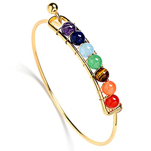 Jauxin 7 Chakra Hand-Woven Gold Plated Natural Stone Beads Bracelet