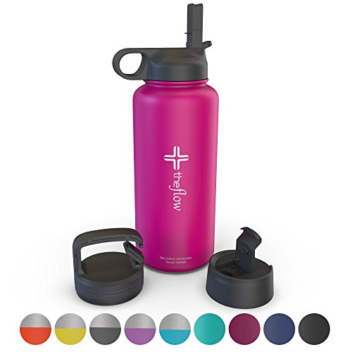 the flow Stainless Steel Water Bottle Double Walled/Vacuum Insulated - BPA/Toxin Free – Wide Mouth with Straw Lid, Carabiner Lid and Flip Lid, 32 oz.(1 Liter) (Pink, 32oz)