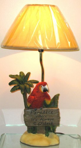 Red Parrot Tropical Table Lamp Light with Shade