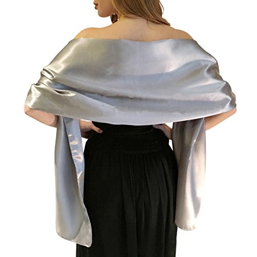 LANSITINA Satin Shawls and Wraps for Evening Dresses Bridal Party Special Occasion(L,LG)