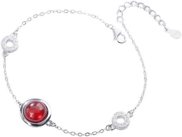 NA HJPAM Pulsera de Cadena de ópalo Transparente roja y Blanca de Plata esterlina 925, Cadena de joyería Alta de Moda Femenina con Encanto con Pulsera