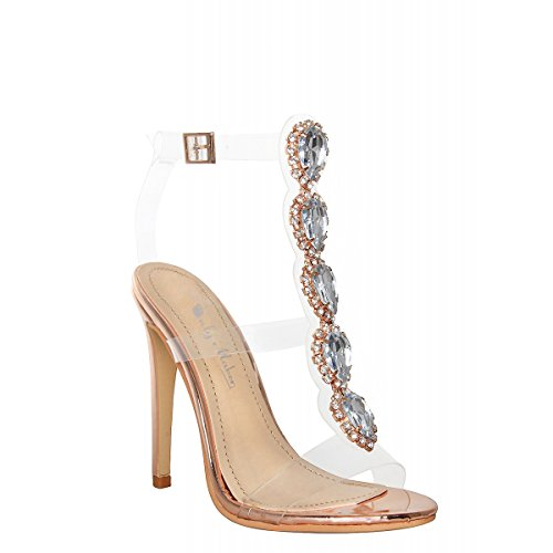 Onlymaker Ankle Strap Gem Clear Stiletto High Heels Gladiator Transparent Strip Sandals With Rhinestones Rose Gold 9.5 M US