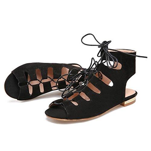 COOLCEPT Mujer Moda Cordones Sandalias Hueco Slingback Comodo Tacon bajo Gladiator Zapatos Negro
