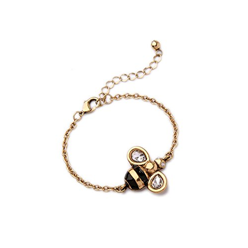 Antiqued Golden Bee Chain Bracelet - Antiqued Gold Bracelet