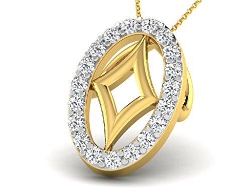 Or Jaune 14 ct Pendentifs Diamant en forme de ovale, 0.1 Ct Diamant, GH-SI, 0.62 grammes.