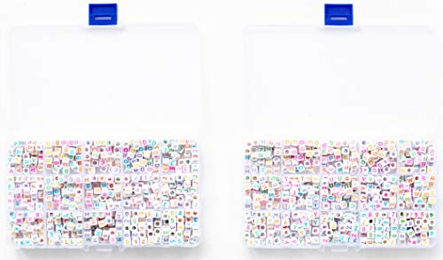 FEQM Pre-Sorted Cube Letter and Number Beads in Two Plastic Storage Boxes (6mm 1540 pcs, White - Mixed Color Letters)
