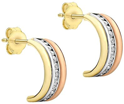 Carissima Gold 9 ct 3 Colour Gold Cubic Zirconia Half Hoop Earrings Edwjc