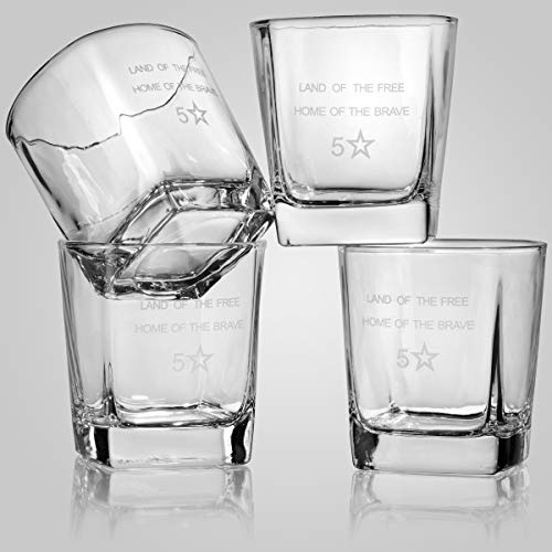 5 Star Decanters, 850mL Scotch Whiskey American Flag Decanter Set - Includes Liquor Dispenser, 4 Etched Whiskey Glasses, Wooden Stand, Stainless Steel Ice Cubes, Ice Tongs, Drinking Memento Booklet by 5 Star Decanters (Image #3)