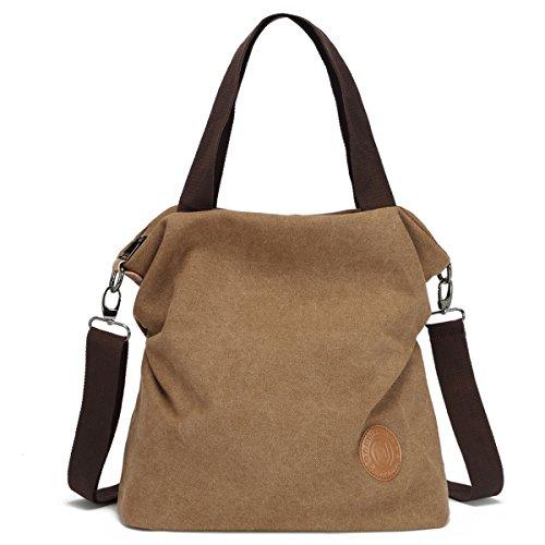 Myhozee Canvas Handbag shoulder Bag Women-Vintage Hobo Top Handle Shopping Crossbody Bag Tote Casual Beach multifunction Bags for Ladies Women(Gray) Khaki