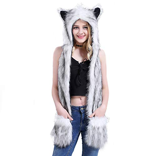 Cheap Male Costume Ideas (Husky Animal Hat Spirit Hood Full Hat Scarf Pockets s 3 in 1 Ear Flat Cap Hoodie Furry Gloves Paws Mittens Party Costume Gift for Women Men Adult Teen Daughter)