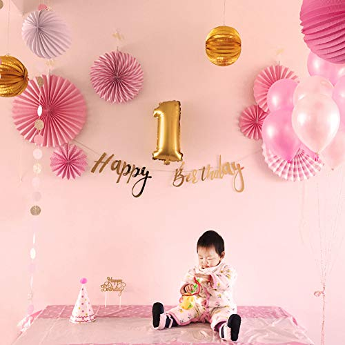 24Pcs Pink Gold First Birthday Party Decoration Set Baby Girl Star Circle Garland Foil Latex Wedding Balloon Happy Banner