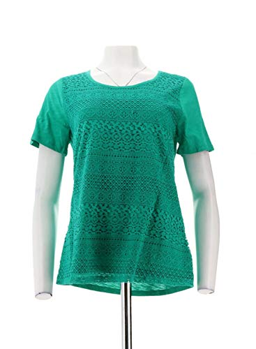 Liz Claiborne NY Short SLV Lace Front Knit Top Jade M New A233897