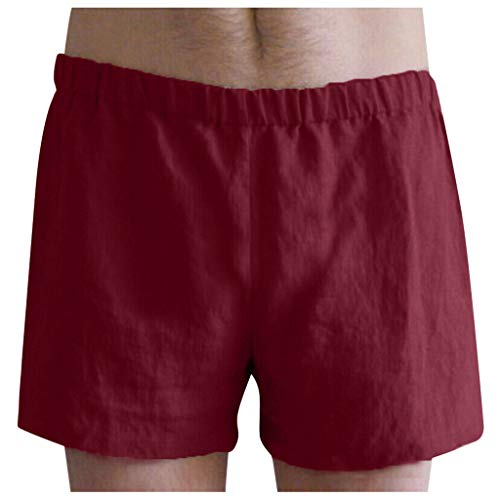 PENGY Summer Mens Linen Cotton Shorts Casual Pants Holiday Beach Bottoms Swim Sport Red ()