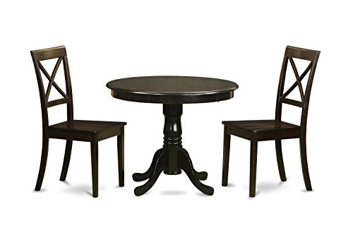(East West Furniture ANBO3-CAP-W 3-Piece Kitchen Table Set In a Cappuccino Finish)