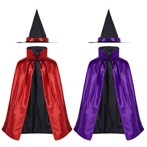 YiZYiF Children Kids Halloween Witch Cloak Party Wizard Costume Double Side Stain Cape Hat Set
