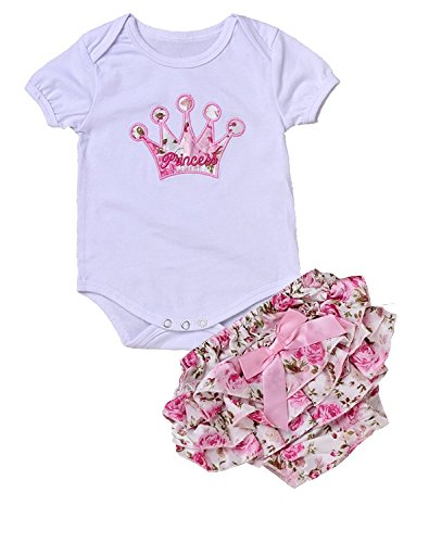 Newborn Infant Baby Girls Clothing Set Crown Pattern Romper Bodysuit Printed Pants Outfit (Small 0-3M, White)