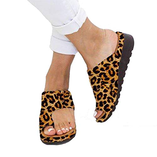 (CCZZ Women Summer Wedges Platform Sandals Stylish Thong Flip Flops Ultra Comfort Slippers Toe Loop Flat Sandals, Leopard Print, 9)