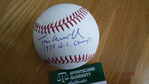 TOM CARROLL (Big Red Machine) 1975 WS Champs Rare Signed Baseball -SGC Authenticated ()