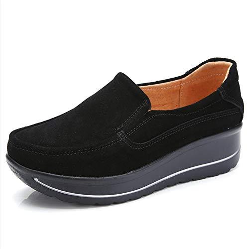 ZYEN-SR3507heise39 Women Platform Slip On Loafers Comfortable Suede Wedge Sneakers Wide Walking Shoes Black 8 B(M) US