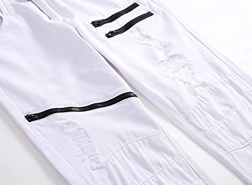 Battercake Jeans Uomo Skinny Bianca Per A Elasticizzati Pantaloni Tinta Di Comodo Bassa Casuali Strappati Unita Vita Dritti rddwq8