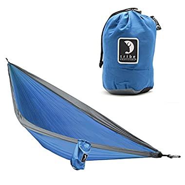 Compact, lightweight, ripstop nylon single-person Adventure Hammock for camping, hiking, and backyard use by Tribe Provisions (Blue)
