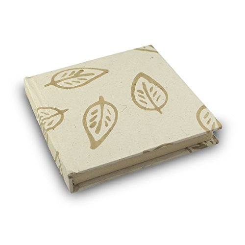 Eight Rivers Eco Batik Leaf Journal with Handmade Lokta Paper. Made in Nepal. 6x6 Inches (Floral White)
