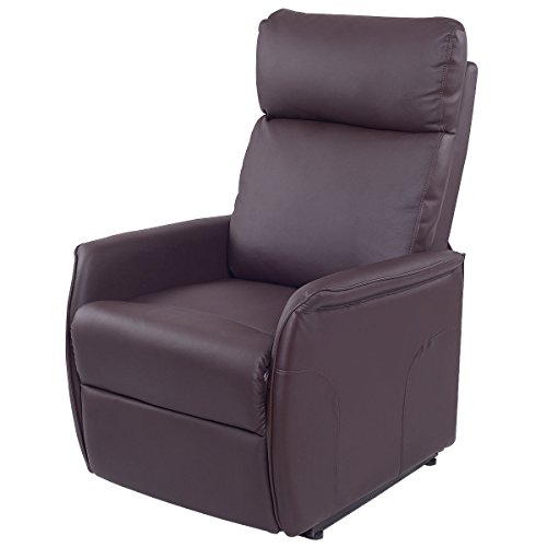 Lift Chair Recliner Sofa Electric Power PU Leather Padded Seat Living Room Brown