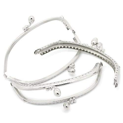 Rockin Beads Brand, 3 Silver Tone Purse Frame Metal Bag Kiss Clasp Lock Curved Design 5x2 Inch 3 Pack China 8S-B31694
