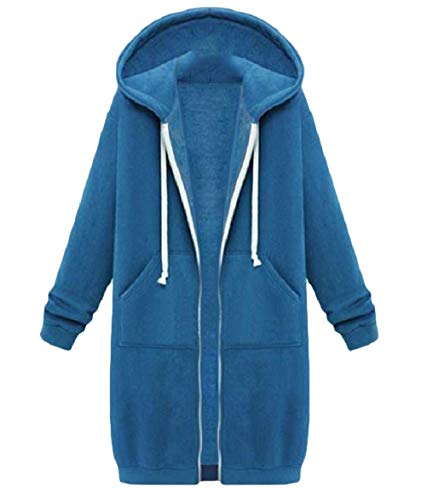 Thick Casual Relaxed Coat Open Front Hoodie Plus Blue Top Velvet Howme Women qI7xw8ytU