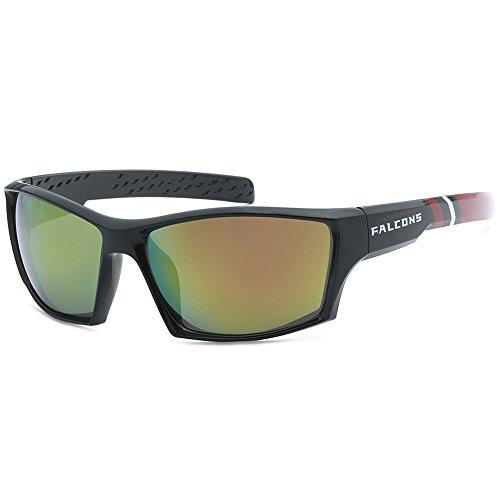 Siskiyou NFL Striped Team Sports Wrap Polarized Sunglasses (Atlanta Falcons, Black | Red Polarized)