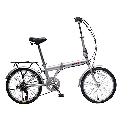 IDS Home unYOUsual U Transformer 20' Folding City Bike Bicycle 6 Speed Shimano Gear Steel Frame Mudguard Rear Carrier Front Rear Wheel Reflectors Silver