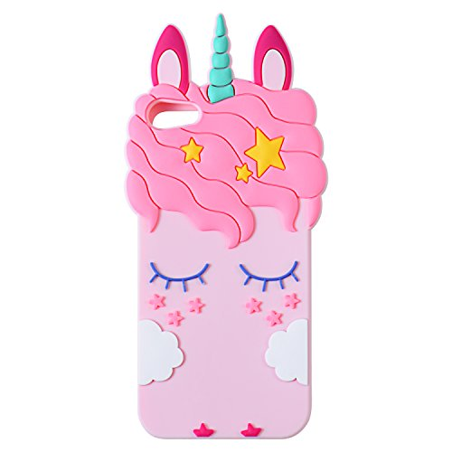 Joyleop Pink Unicorn Case for iPod Touch 6 5 Generation,Cute 3D Cartoon Animal Cover,Kids Girls Soft Silicone Gel Rubber Kawaii Fun Cool Unique Character Skin Protector Cases Touch 5th 6th Gen (Ipod Touch Covers For Kids)