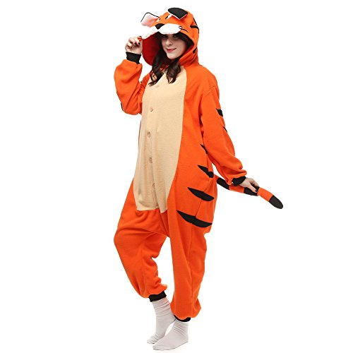 (COSPROFE Animal Adult Tiger Onesies One Piece Pajamas Unisex Halloween Cosplay Costume)