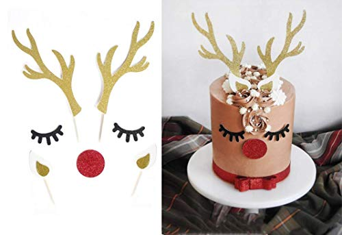Astra Gourmet 7pcs/set Christmas Reindeer Cake Topper Xmas Elk Happy Holiday Party Favors Supplies Winter Glitter Decorations
