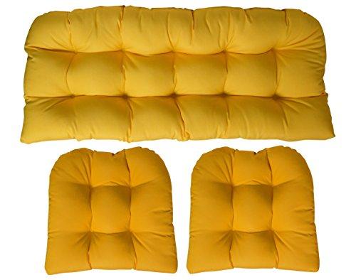 Sunbrella Canvas Sunflower Yellow Large 3 Piece Wicker Cushion Set (44u0027u0027 X  22