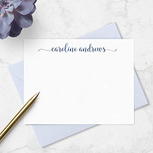 Personalized Note Cards and Envelopes Stationery Set for Ladies - Customized with Name in your Choice of Colors