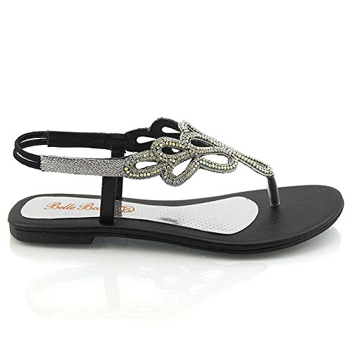 b352afae3 outlet Essex Glam Womens Flat Slingback Diamante Summer Sandals ...