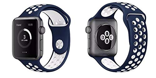 Bellamei Compatible Apple Watch Band 44mm 40mm iWatch Band 42mm 38mm Soft Silicone Sport Wristbands Replacement Apple Watch Series3/2/1 Nike+ Sport Edition (Blue White, 38mm/40mm M/L)