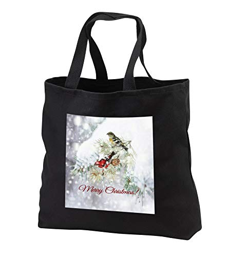 Beverly Turner Christmas Design - Winter Red and Yellow Birds on Snowy Pine Tree Branch, Merry Christmas - Tote Bags - Black Tote Bag JUMBO 20w x 15h x 5d (tb_301979_3)