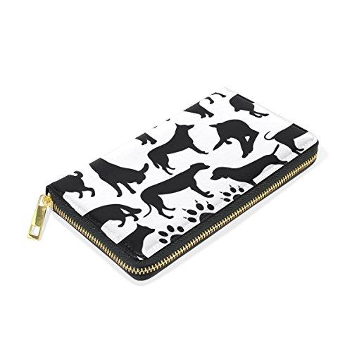 And Clutch Wallet TIZORAX Dogs Zip Organizer Womens Around Silhouette Collage Purses Handbags x40IOq