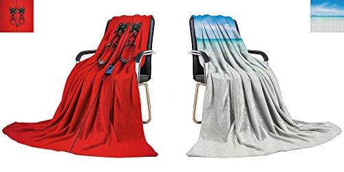 YOYI-home Queen Flannel Blanket bat Knocker on red Door Thicken Blanket Extra Big 90
