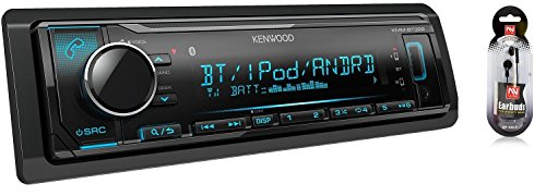 Kenwood KMM-BT325 Bluetooth USB MP3 WMA AM/FM Digital Media Player Dual Phone Connection Pandora Car Stereo Receiver/Free ALPHASONIK Earbuds (Kenwood Stereo Receivers For Home)